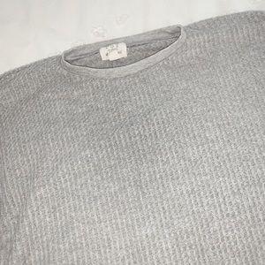 grey long sleeve waffle knit tee